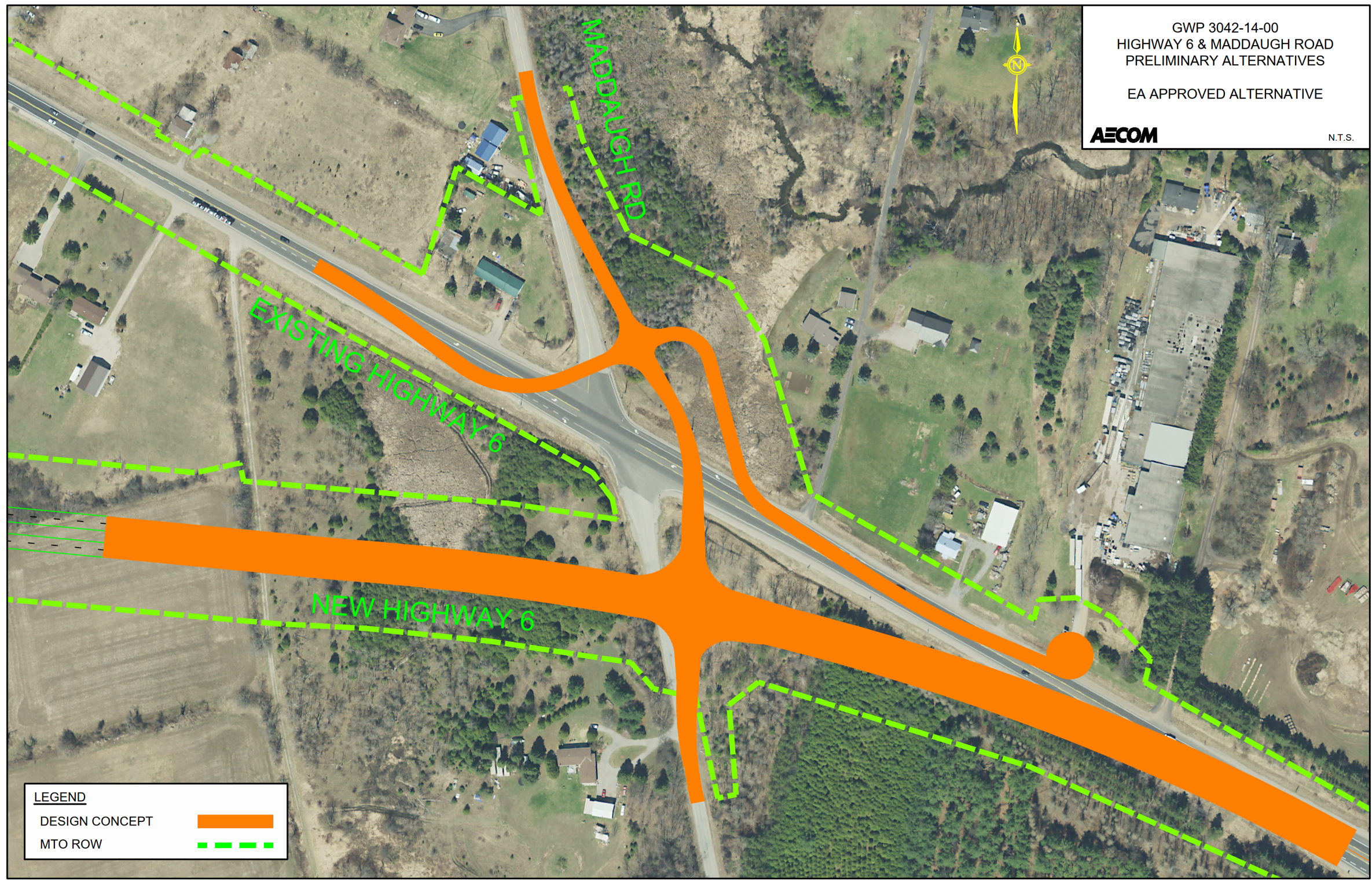 Aerial map displaying the approved EA configuration for Proposed Highway 6 and Maddaugh Road, including the design concept and the existing Right of Way.