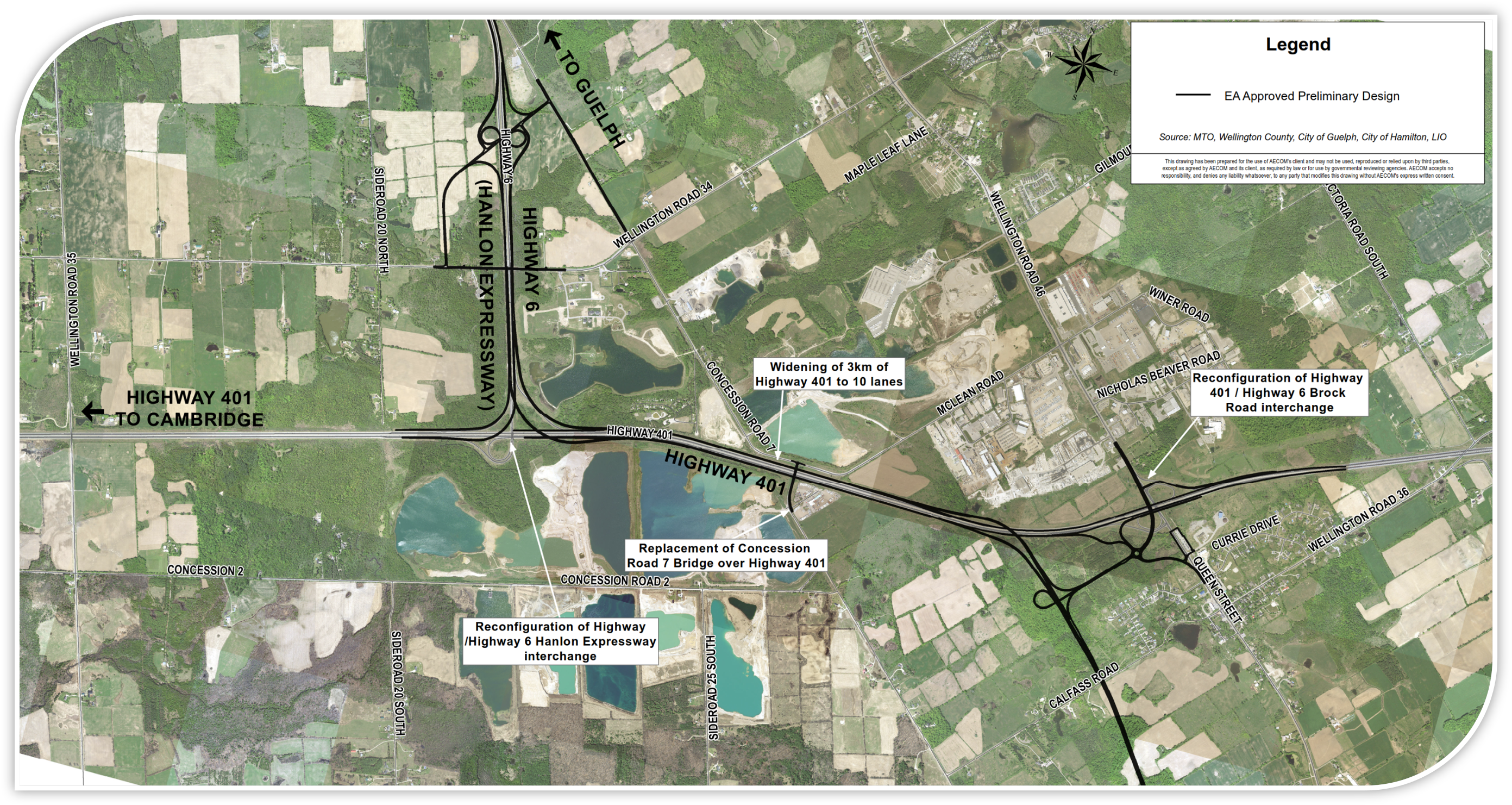 Aerial map displaying the proposed midblock interchange to access Concession Road 7 and Wellington Road 34 from the Hanlon Expressway. Map also displays proposed Concession Road 7 re-alignment slightly to the east.