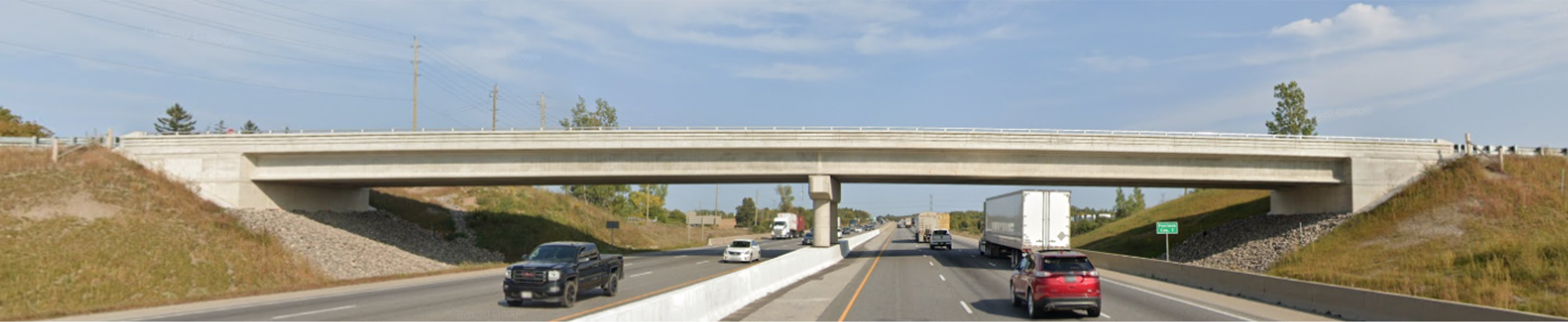 Photo of the new Concession Road 7 Bridge over Highway 401 which was constructed in 2019-2020.