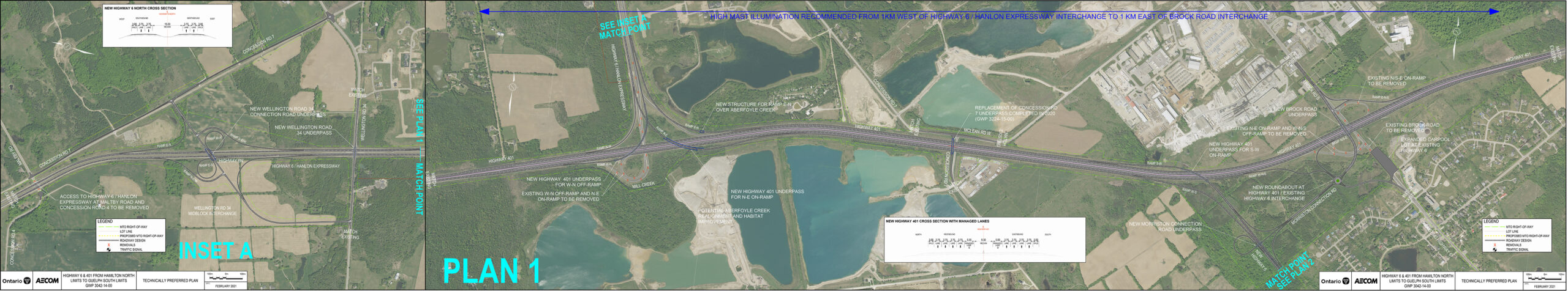 Aerial map 1 of 2 showing the recommended design plan for the Highways 6 and 401 Improvements Project. For more information on the recommended plan design please contact the project team.