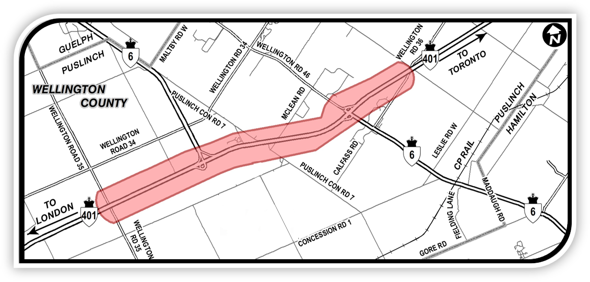Key Map showing the study area along Highway 401.