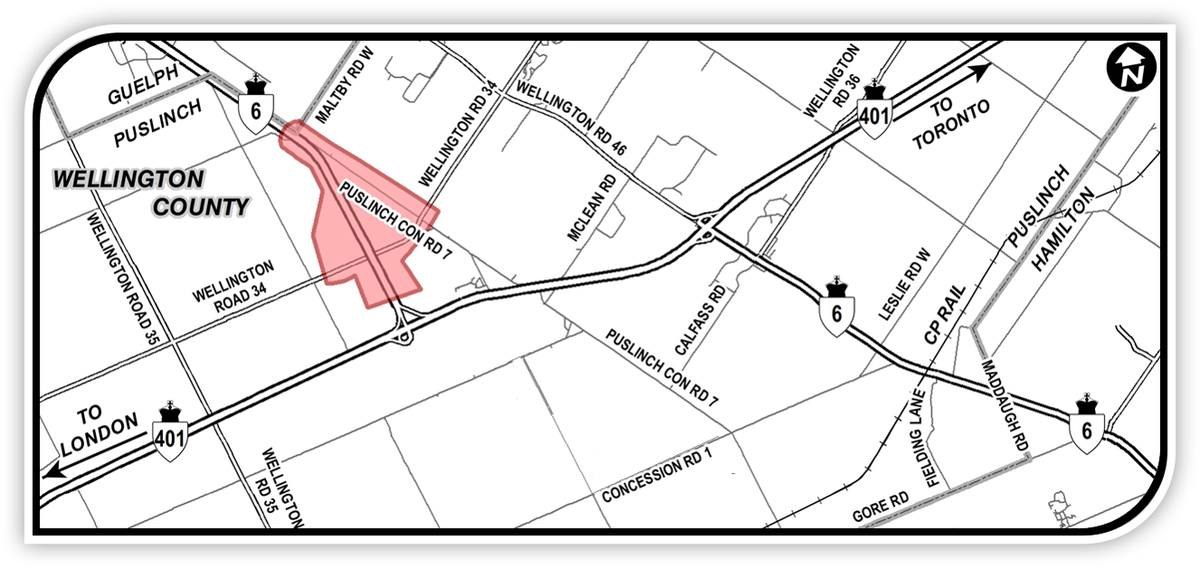 Key Map showing the study area for the approved plan for Highway 6 (Hanlon Expressway) North of Highway 401
