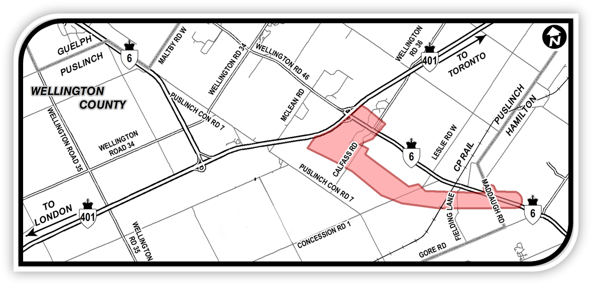 Key Map showing the study area for the new controlled access four-lane Highway 6 alignment. For more information please contact the AECOM Project Manager Tim Sorochinsky at (905)-418-1475 or by email at ProjectTeam@Highways6and401hamiltontoguelph.com.