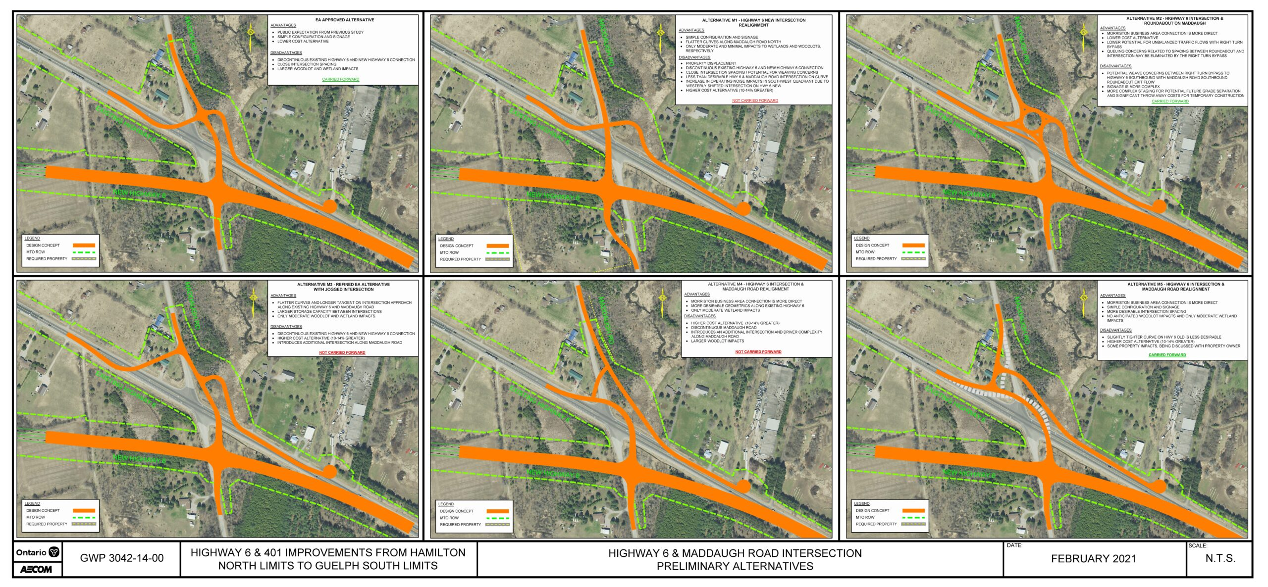 Aerial maps of the Highway 6 and Maddaugh Road Intersection Preliminary Design Alternatives