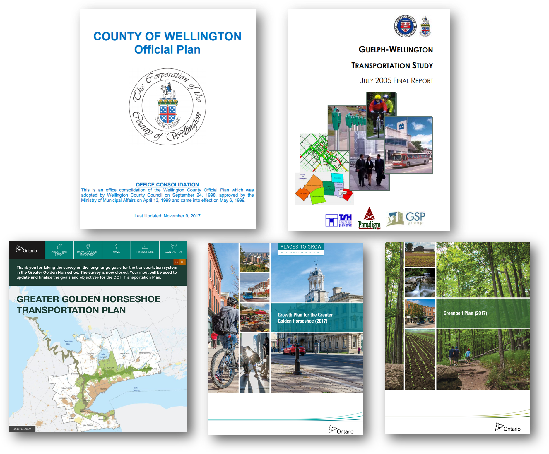 Photos of the covers of the various regional planning documents.