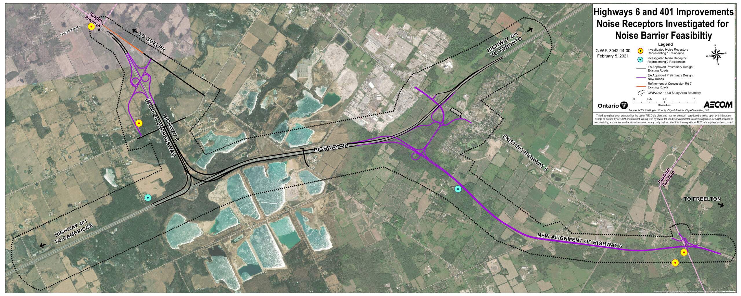 Aerial Map showing the Noise Receptors Investigated for Noise Barrier Feasibility. For more information on the Noise Impact Assessment Findings contact the Project Team.