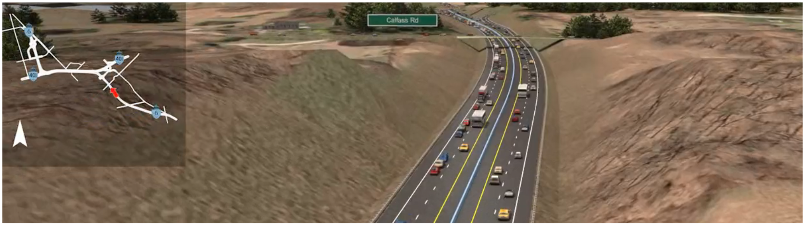 Computer rendering of what the new controlled access four-lane Highway 6 alignment would potentially look like. Rendering is an image of new Highway 6 facing North East, towards Highway 401 with two lanes in each direction.