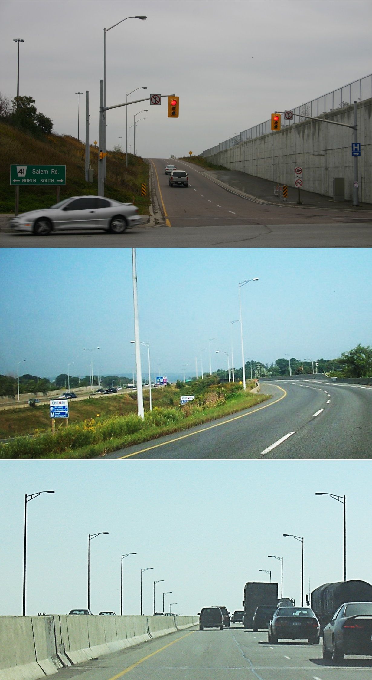 Photos displaying different types of highway illumination and traffic signals. The photos displays a set of traffic signals at the end of a ramp,