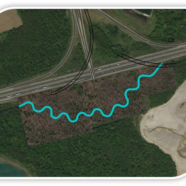 An image showing the proposed improvements to the creek in this area.