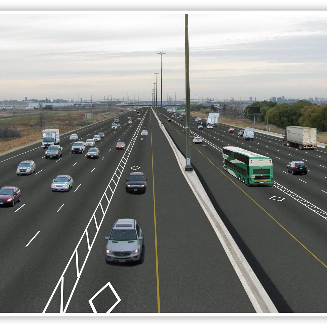 An image render of an example of a managed lane cross section.