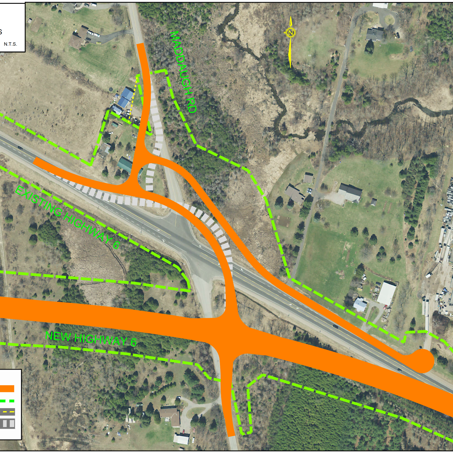 Aerial map displaying the refined design concept for Proposed Highway 6 and Maddaugh Road which shifts the intersection further to the northeast compared to the approved EA configuration.